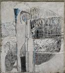 Madárijesztő, 1980, sgraffito, vászon, gipsz, 105x93,5 cm
