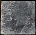 Fekete állat, 1995, sgraffito, vászon, hungarocell, farost, 98x101 cm